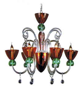 Modern Coloured Glass Chandelier