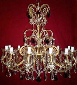 Antique 19th Century Elegant Crystal Drop 12 Light Chandelier.
