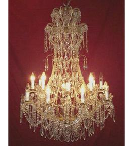 Regency Crystal Drop 18 Light Chandelier.