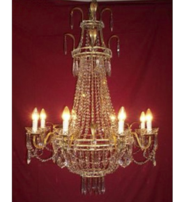 19th Century Crystal Drop Regency 8 Light Chandelier.