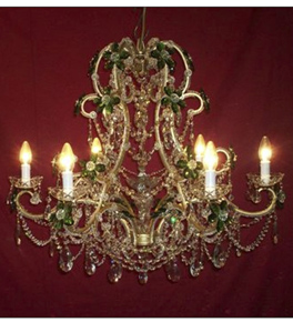 19th Century Elegant Flora Detailed 6 Light Chandelier.