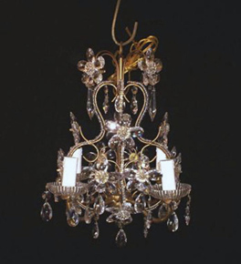 Antique Floral Crystal 4 Light Chandelier.