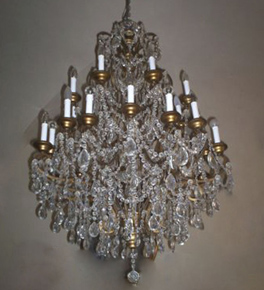 Antique Pristine Crystal Drop 24 Light Hale Style Chandelier.