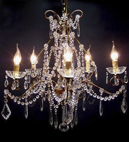 Antique 6 Light Chandelier With Modern Crystal Drops.