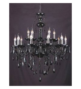 Murano Glass 15 Light Chandelier With Crystal Drops.