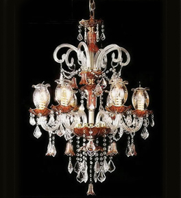 Murano Glass 6 Light Antique Style Chandelier.