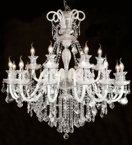 Crystal Crop Murano Glass 18 Light Hale Style Chandelier.