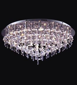 Tiered 25 Light Flush Fitting Chandelier