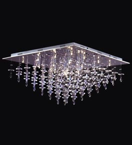 25 Light Crystal Drop Flush Fitting Chandelier