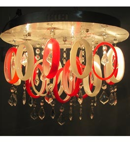 Modern Coloured Glass Flush Fitting Ceiling Light
