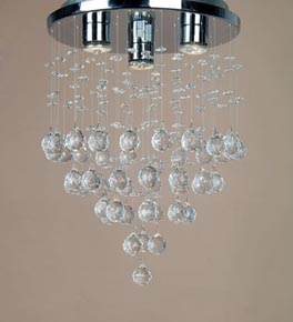 3 Light Crystal Constellation Flush Fitting Chandelier