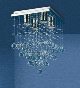 4 Light Crystal Constellation Flush Fitting Chandelier
