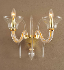 2 Arm Traditional Swirled Murano Style Glass Wall Light
