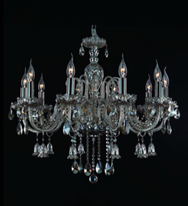 10 Light Ash Grey Crystal Bell Drop Chandelier