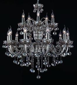 Brandy Coloured 15 Arm Crystal Chandelier
