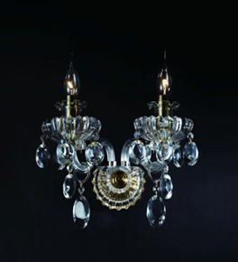 Double Arm Crystal Drop Wall Light