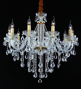 10 Arm Chandelier With Tear Drop Crystal