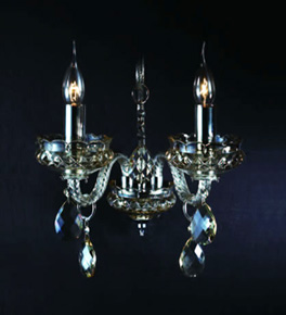 Double Arm Champagne Crystal Wall Light
