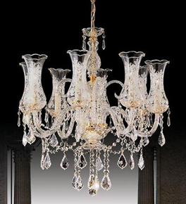8 Light Crystal Chandelier With Glass Shades