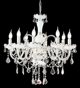 8 Light Chandelier With Eggshell Drip Trays