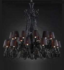 24 Light Black Shaded Crystal Chandelier