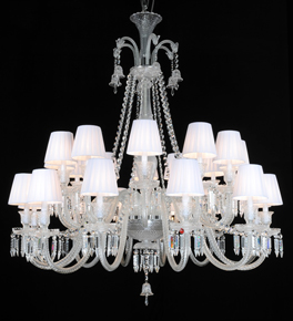 24 Arm Crystal Chandelier with Shades
