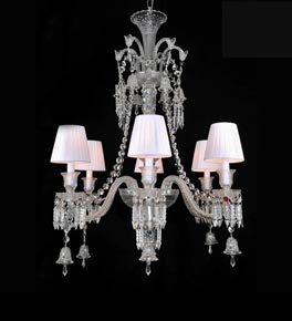 6 Light Crystal Baccarat Style Chandelier with Shades