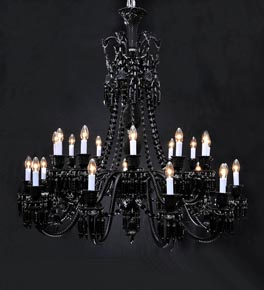2 Tier Black Crystal Drop Chandelier