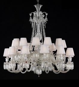 2 Tier Crystal Chandelier with White Shades