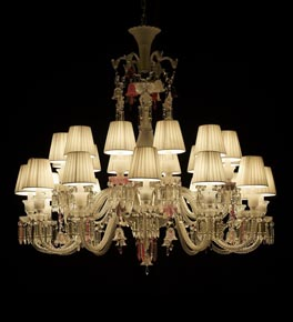 24 Light Clear & Coloured Crystal Chandelier with Shades