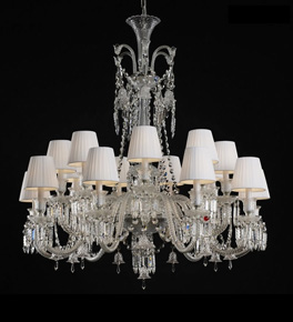 18 Light Baccarat Style Chandelier with Shades