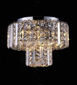 Flush Mounted Clear Crystal Chandelier
