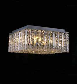 Square Surface Mounted Chandelier With Clear Crystal