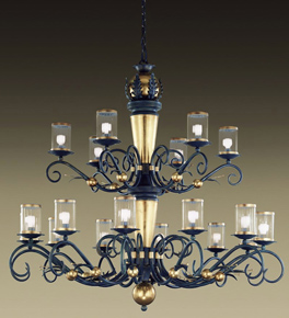 Impero Design Tiered Chandelier With Sinuous Arms And Blown Glass