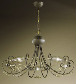 Botte Design Chandelier With Hand Forged Details And Glass