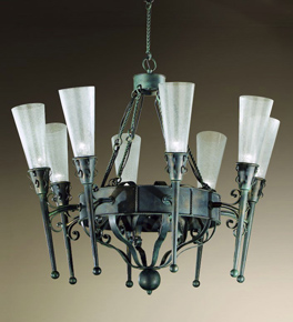 Fiaccole Design 8 Light Chandelier With Cone Shaped Blown Glass