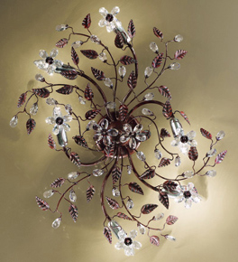 Garden Design Flush Fitting Ceiling Light with Hand Worked Leaves