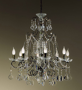 8 Light Hand Curved Preziosa Design Chandelier