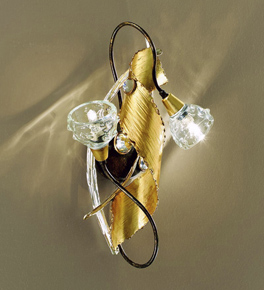 Spirale design forged metal short wall lamp with blown glass details