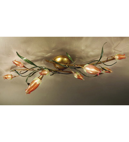 Gru design leaf shaped & murano glass detailed flush chandelier