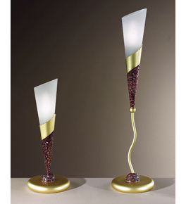 Forme Design cone table lamp that has drill, flame cut & glass details