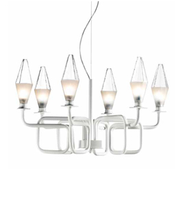 Fifty Design Worked Metal and Prism Glass 6 Light Chandelier