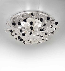 Paris Design Chrome Framed Flush Fitting Chandelier with Black Roses
