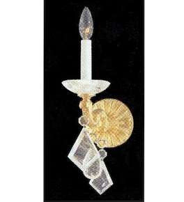 Hand Crafted Wall Light with Hanging Crystal