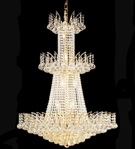 Three tiered regency style crystal chandelier