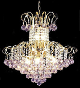Elegant Coloured Crystal 9 Light Chandelier