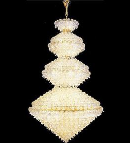 Tiered diamond shaped crystal chandelier