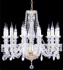 Pristine glass & crystal crop chandelier