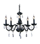 Modern Moulded Black Glass 5 Light Chandelier with Crystal Drops