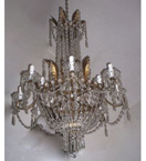 Pristine 12 Light Regency Style Chandelier.